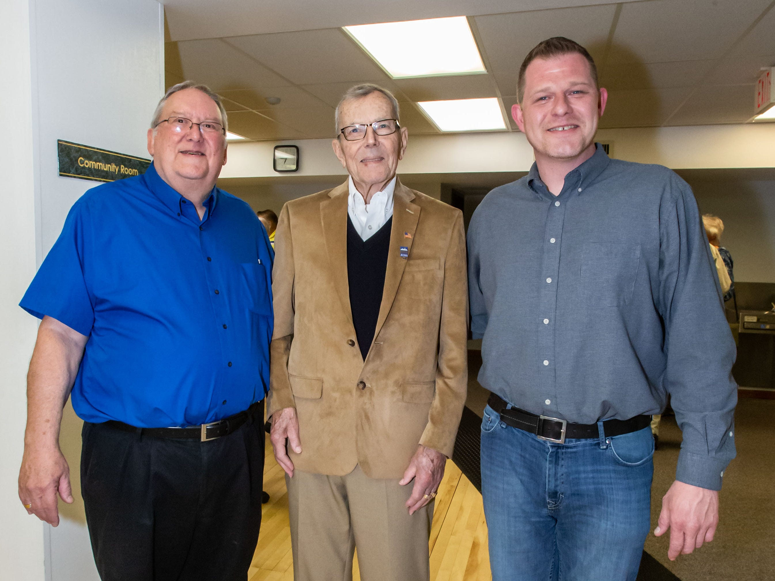 Hartland Village Board trustee Richard Landwehr (center) poses for a photo with former Village Board President David Lamerand (left) and current Village Board President Jeffrey Pfannerstill during reception to honor Landwehr's 53 years of service on Monday, April 8, 2019. Landwehr also served as Village Board President from 1985 to 1987.