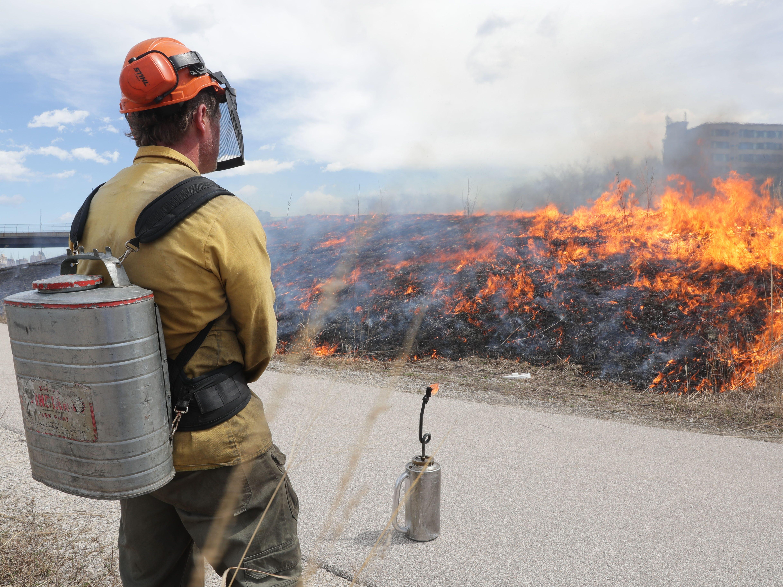 Chris Mann of Kettle Moraine Land Stewards LLC monitors the controlled burn.