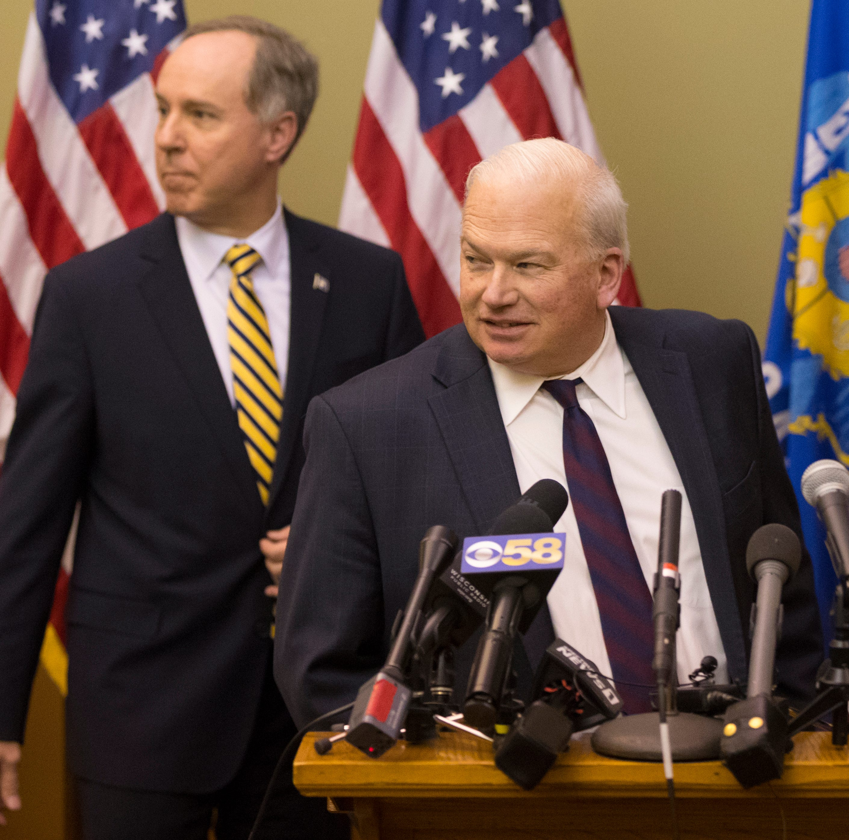 Assembly Speaker Robin Vos (R-Rochester, left) and Senate Majority Leader Scott Fitzgerald (R-Juneau). Fitzgerald is holding off confirming cabinet appointments by Governor Tony Evers.