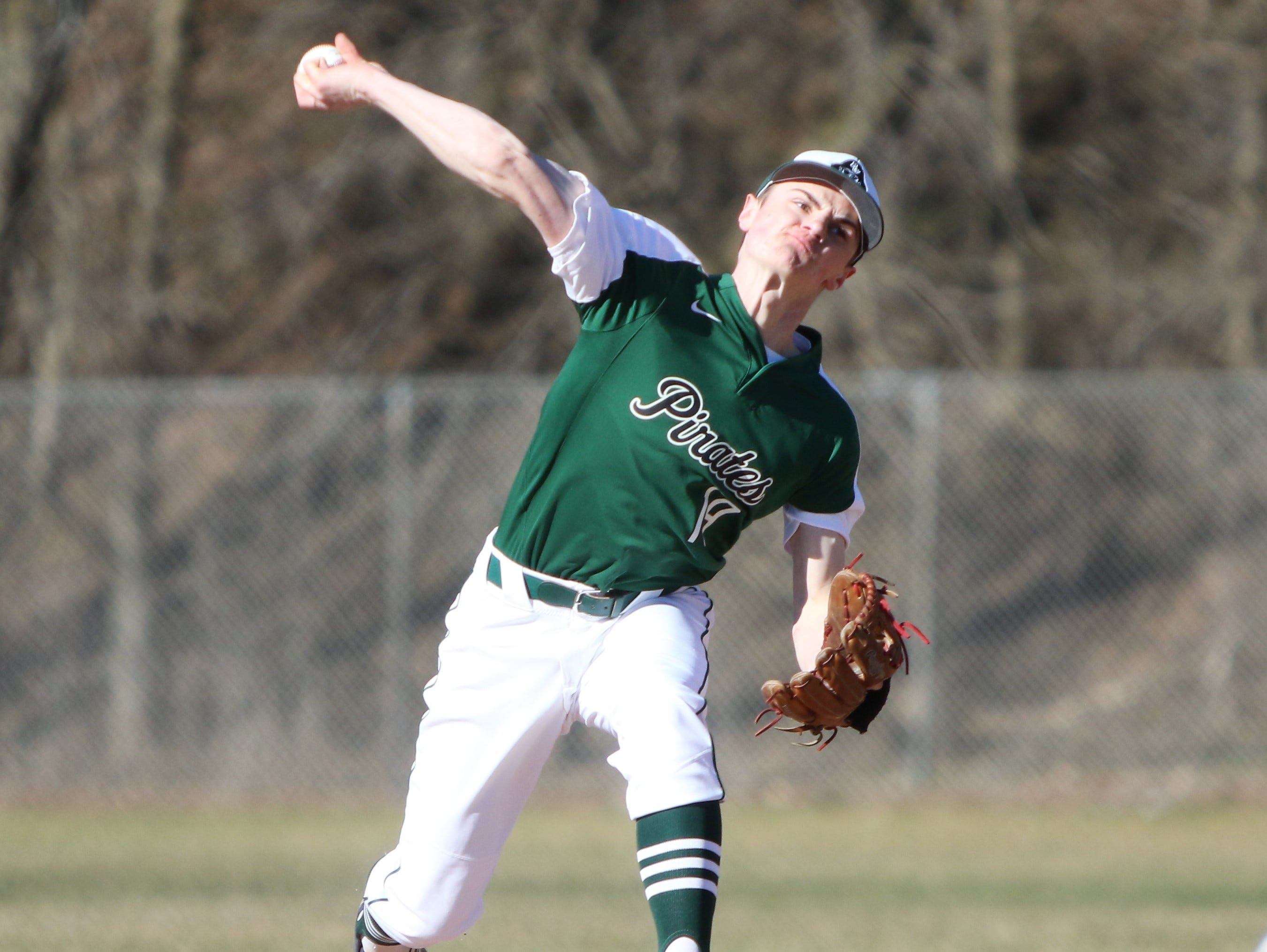 Port Washington pitcher George Klassen delivers a pitch against West Bend East on April 8, 2019
