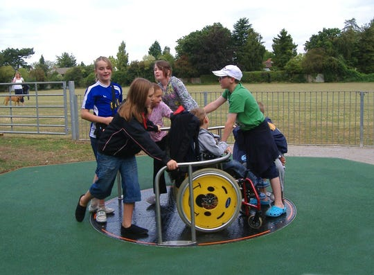 The Willowbrooke CommUNITY Playground would feature a merry-go-round accessible to children in wheelchairs.