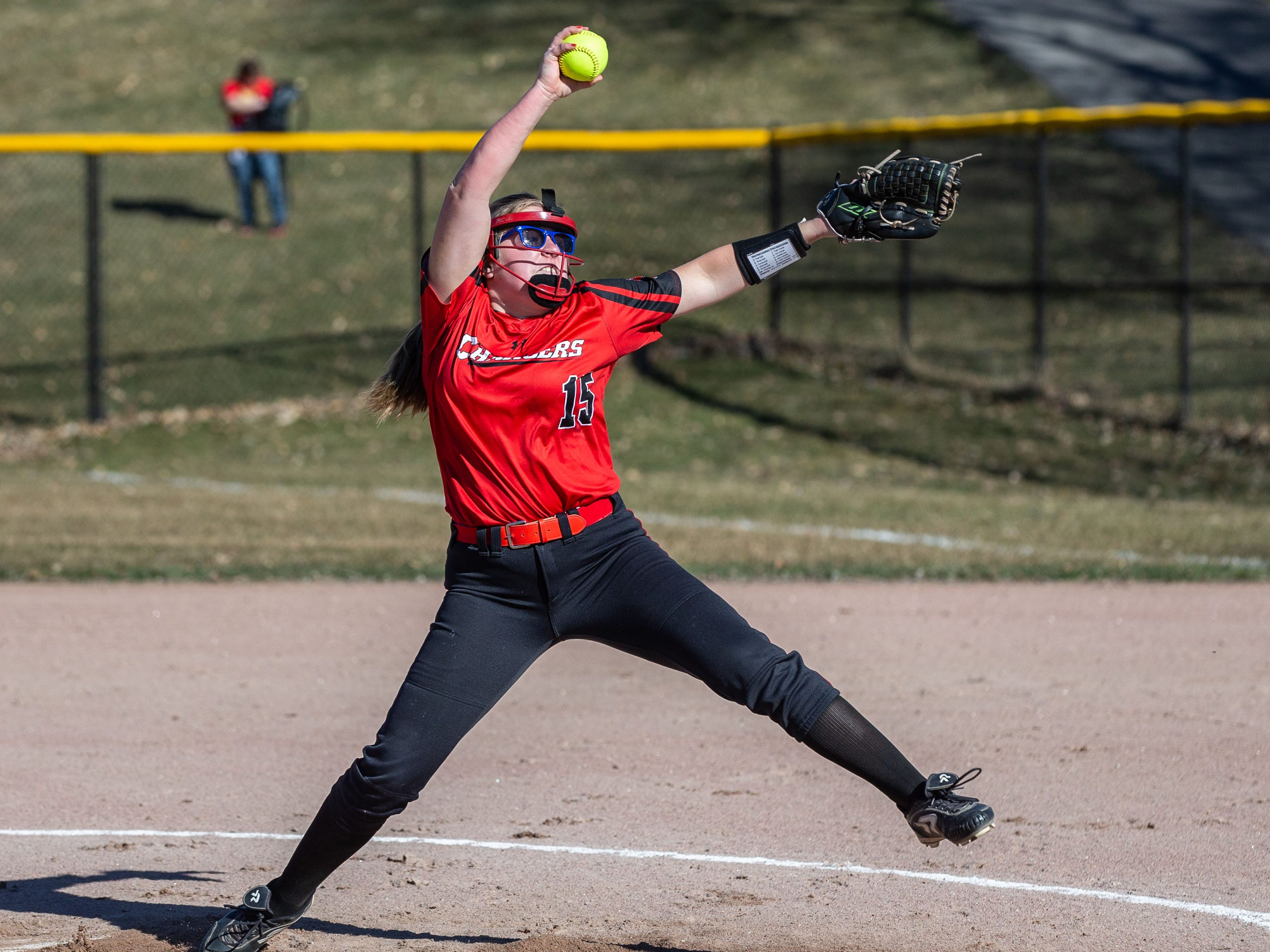 Sussex Hamilton pitcher Julianne Claas (15) winds up during the game at Oconomowoc on Monday, April 8, 2019.