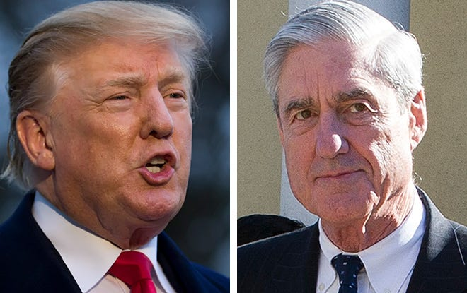 President Donald Trump (left) and Special Counsel Robert Mueller (right)