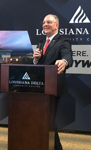 Gov. John Bel Edwards is pictured here at Louisiana Delta Community College on April 1, 2019.
