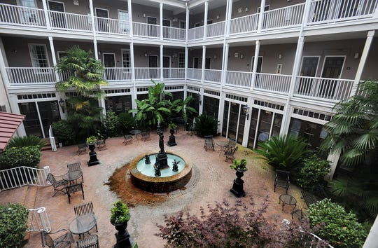 The courtyard of the historic St. James Hotel in Selma, Ala.