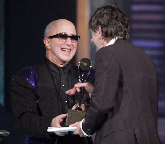Paul Shaffer, left, inducts Spooner Oldham into the Rock and Roll Hall of Fame on April 4, 2009 in Cleveland.
