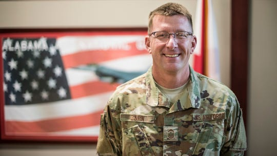 Senior Master Sgt. James Zorn, 187th Fighter Wing first sergeant, poses for a portrait March 3, 2019, at Dannelly Field, Ala.