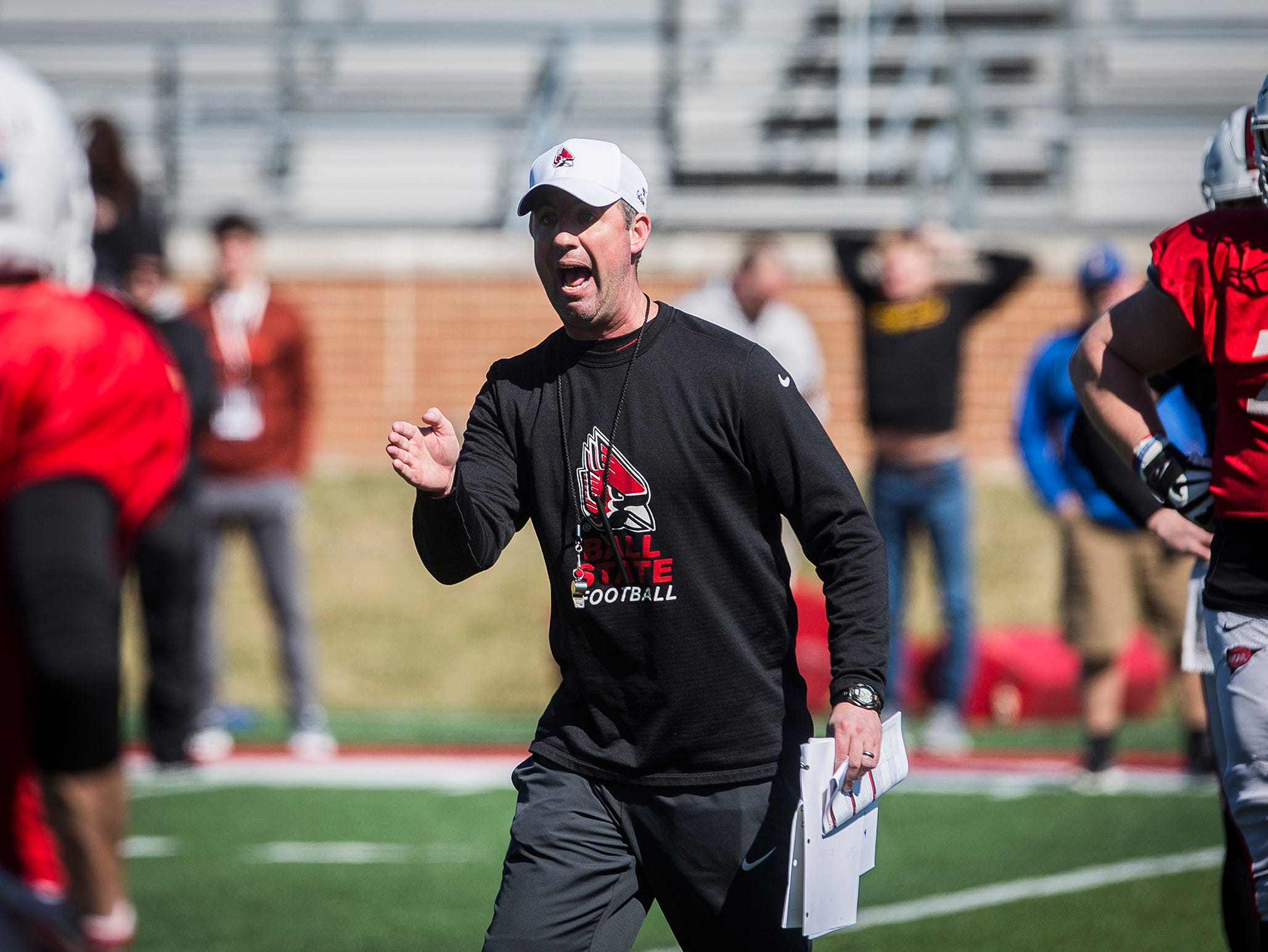 Ball State football practices at Scheumann Stadium. The Cardinals begin their season with the Spring Game on April 13.