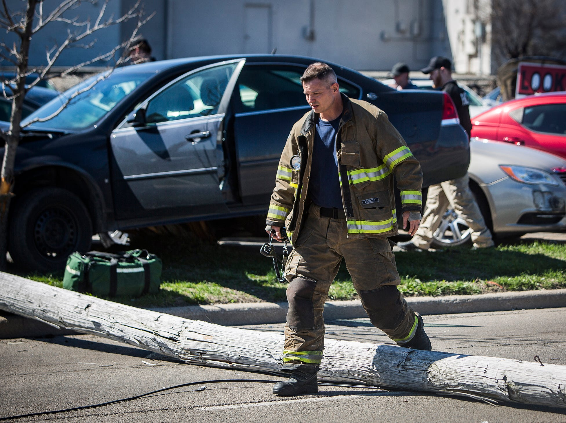 Police respond at the scene of a wreck involving one driver and five vehicles on N. Dr. Martin Luther King Jr. Blvd. near McGalliard Road at around 4 p.m. Tuesday. According to police the driver of a Chevy Impala was headed southbound when he veered off of the road, striking several for-sale cars in the Oak Motors lot before downing a utility pole. The toppled pole, which was attached to a live wire, created a safety hazard for drivers in the area. Police halted traffic for more than an hour as the scene was cleared. Emergency workers at the scene indicated driver inattention was the cause of the wreck. No serious injuries were reported during the incident.