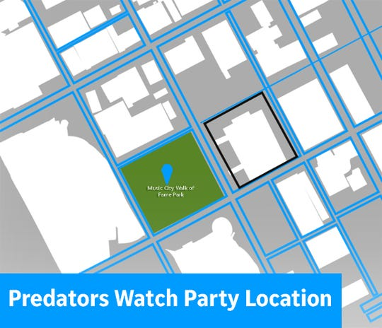 Map of the location of the Nashville Predators NHL Playoffs watch parties.