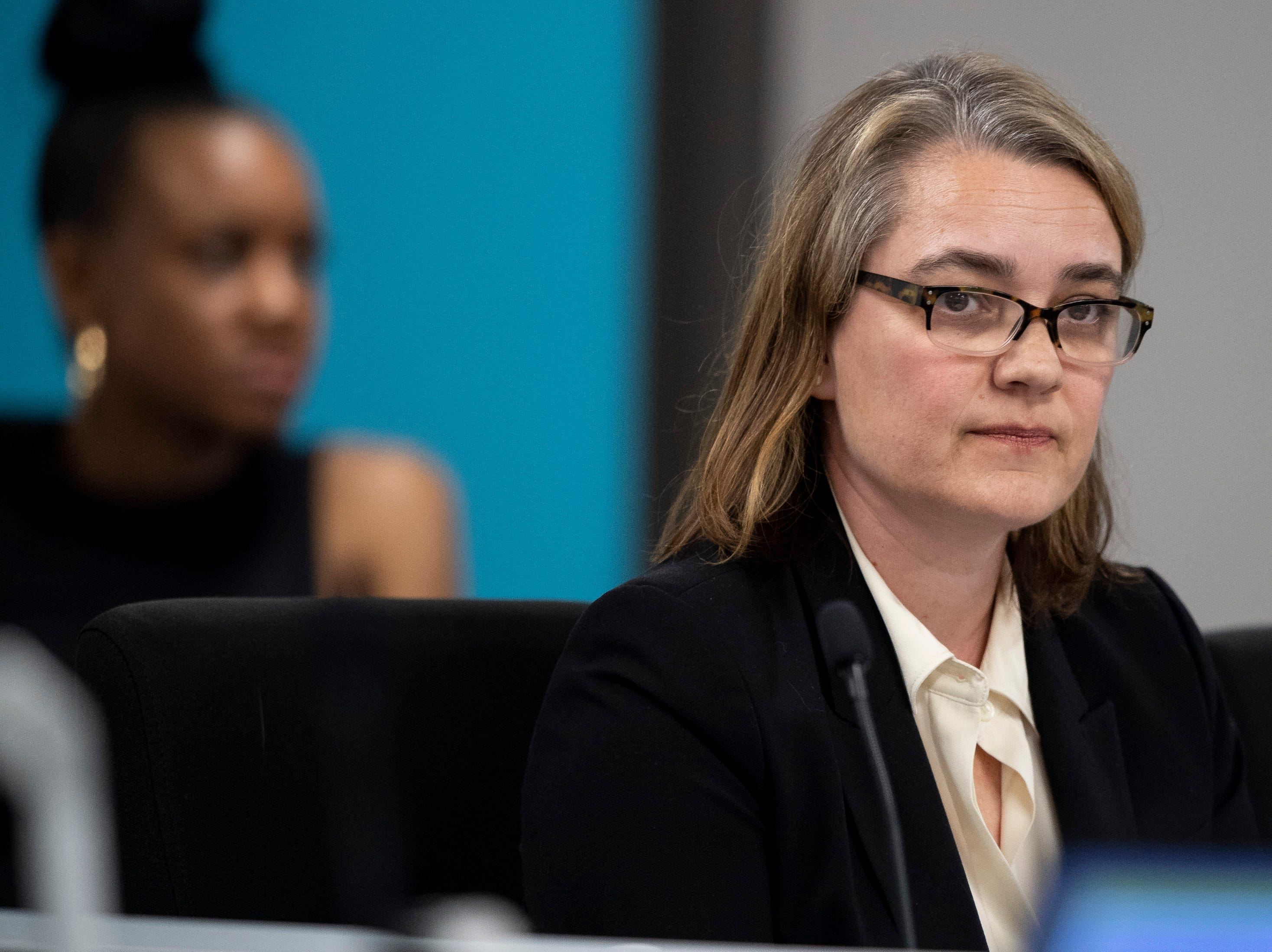 Nashville school board member Amy Frogge speaks about the termination of the contract of director Shawn Joseph during the MNPS Board of Public Education meeting at the Administration Building of Metropolitan Public Schools in Nashville, Tenn., Tuesday, April 9, 2019.