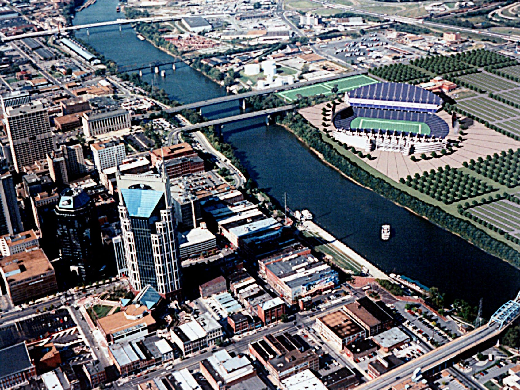 A computer-enhanced photograph shows where a football stadium would be built across the Cumberland River from the downtown area if the Houston Oilers move to Nashville, Tenn. The picture was provided on Oct. 5, 1995 when Nashville mayor Phil Bredesen disclosed the details of the financial package offered by Nashville and the state of Tennessee.