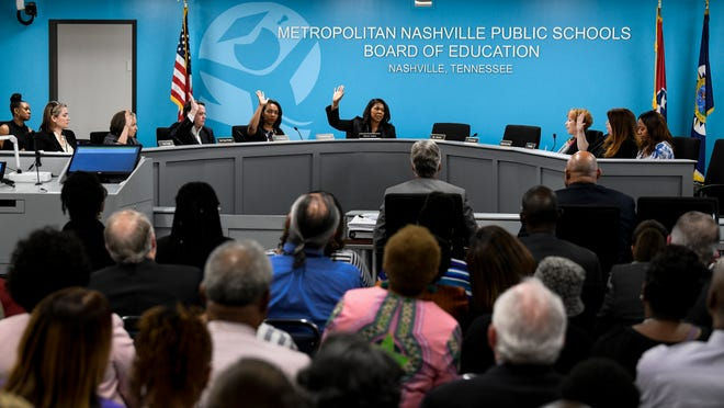 The Nashville school board votes on the deal that ends Shawn Joseph contract during the MNPS Board of Public Education meeting at the Administration Building of Metropolitan Public Schools in Nashville, Tenn., Tuesday, April 9, 2019.