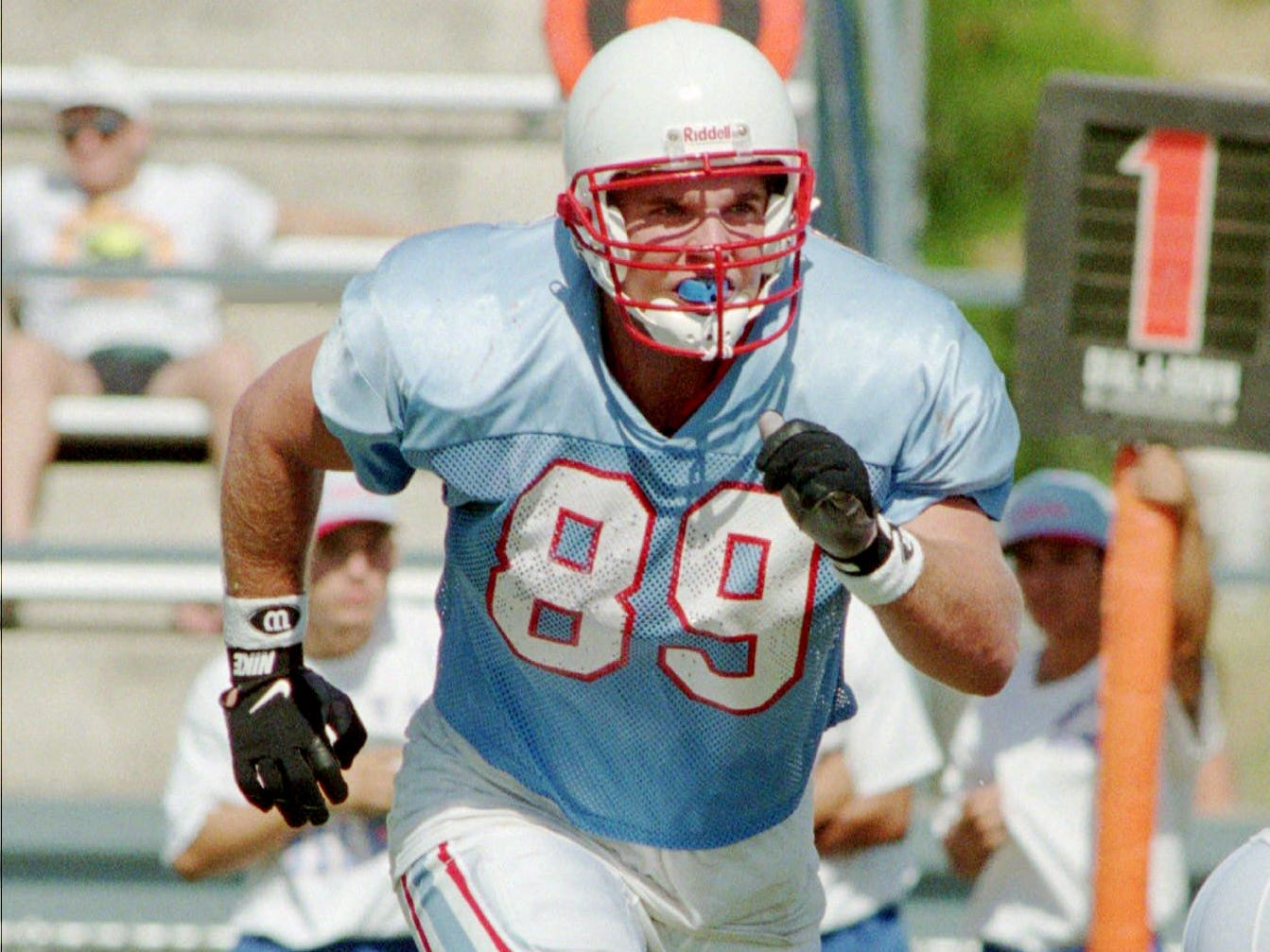 Houston Oilers tight end Frank Wycheck races across the backfield during workout July 21, 1996 in San Antonio, Texas. This year is expected to be the last Oilers training camp in San Antonio as they prepare to move to Nashville.