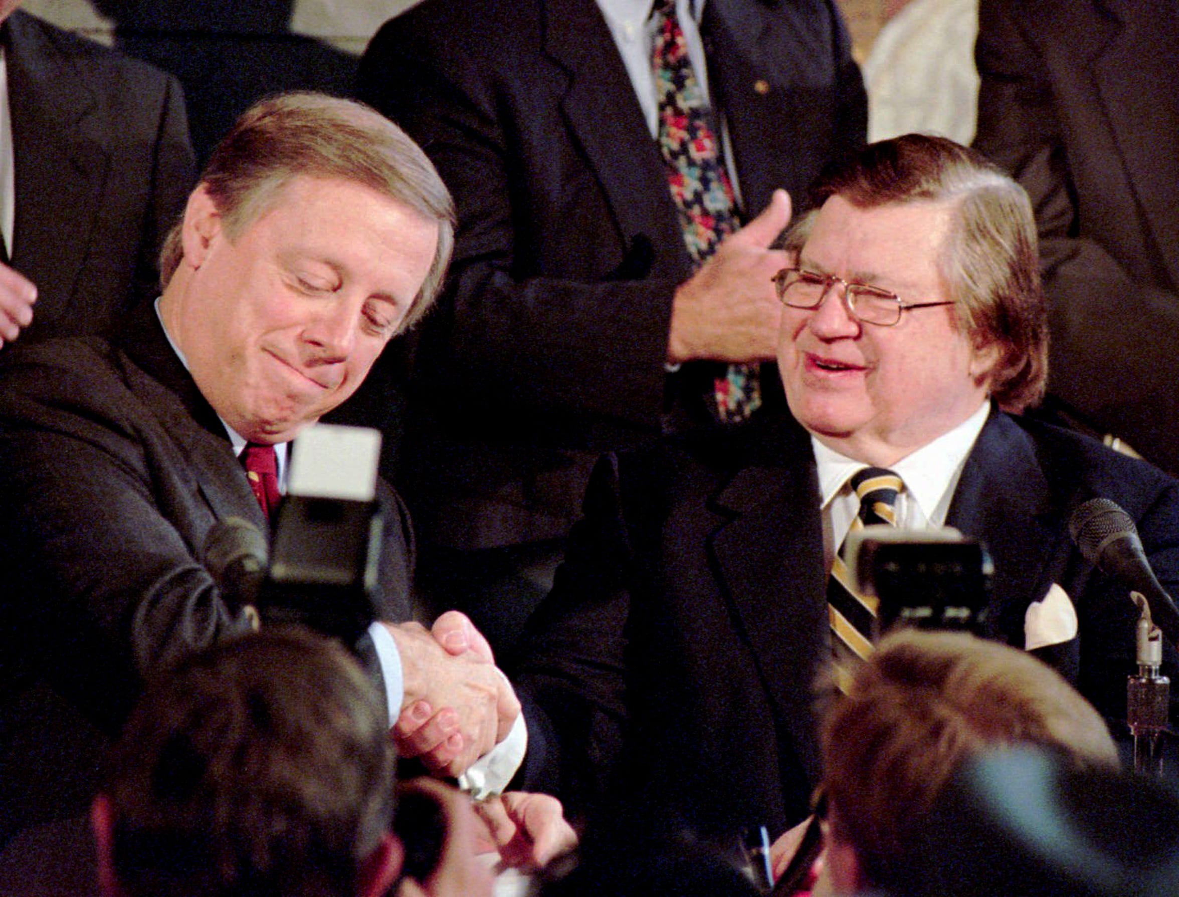 Bud Adams, right, owner of the Houston Oilers, and Metro Mayor Phil Bredesen shake hands to seal the agreement that will move the team to Nashville providing the city meets several requirements, including the construction of a stadium by 1998. The two appeared together in Nashville Nov. 16, 1995 to sign the deal.