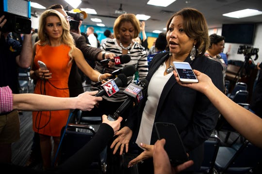 Dr. Adrienne Battle speaks to reporters after the Metro Nashville Public Schools board meeting on April 9. Battle has been granted a two-year interim contract as director of MNPS.
