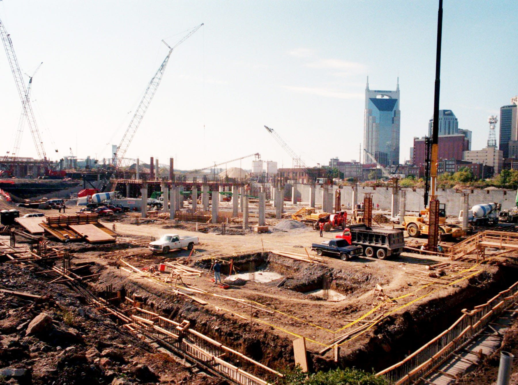 Construction of the new Oilers football stadium is starting to take shape Oct. 31, 1997 in Nashville.