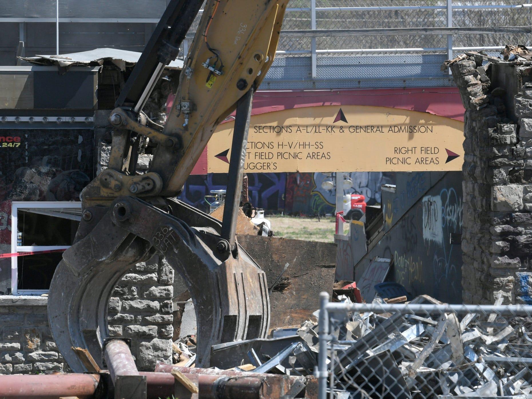 Demolition of Greer Stadium has started. Crews begin tearing down the 41-year-old building.