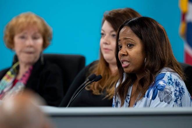 Nashville school board member Fran Bush speaks about the termination of the contract of director Shawn Joseph during the MNPS Board of Public Education meeting at the Administration Building of Metropolitan Public Schools in Nashville, Tenn., Tuesday, April 9, 2019.