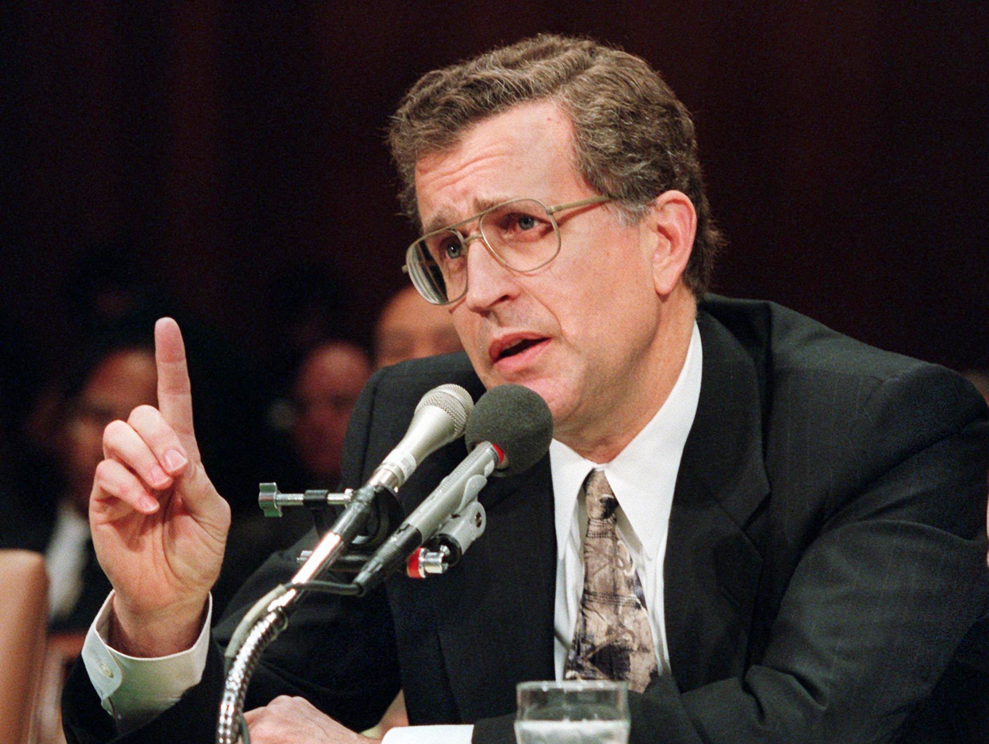 National Football League Commissioner Paul Tagliabue gestures while testifying Nov. 29, 1995 on Capitol Hill before the Senate subcommittee on Antitrust, Business Rights, and Competition hearing on relocation of professional sports franchises. The Cleveland Browns and Houston Oilers of the NFL are making plans to relocate, the Browns to Baltimore and the Oilers to Nashville.