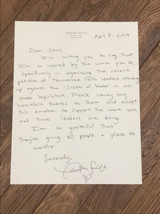 Letter sent from Taylor Swift to Chris Sanders of Tennessee Equality Project (Photo: Tennessee Equality Project)