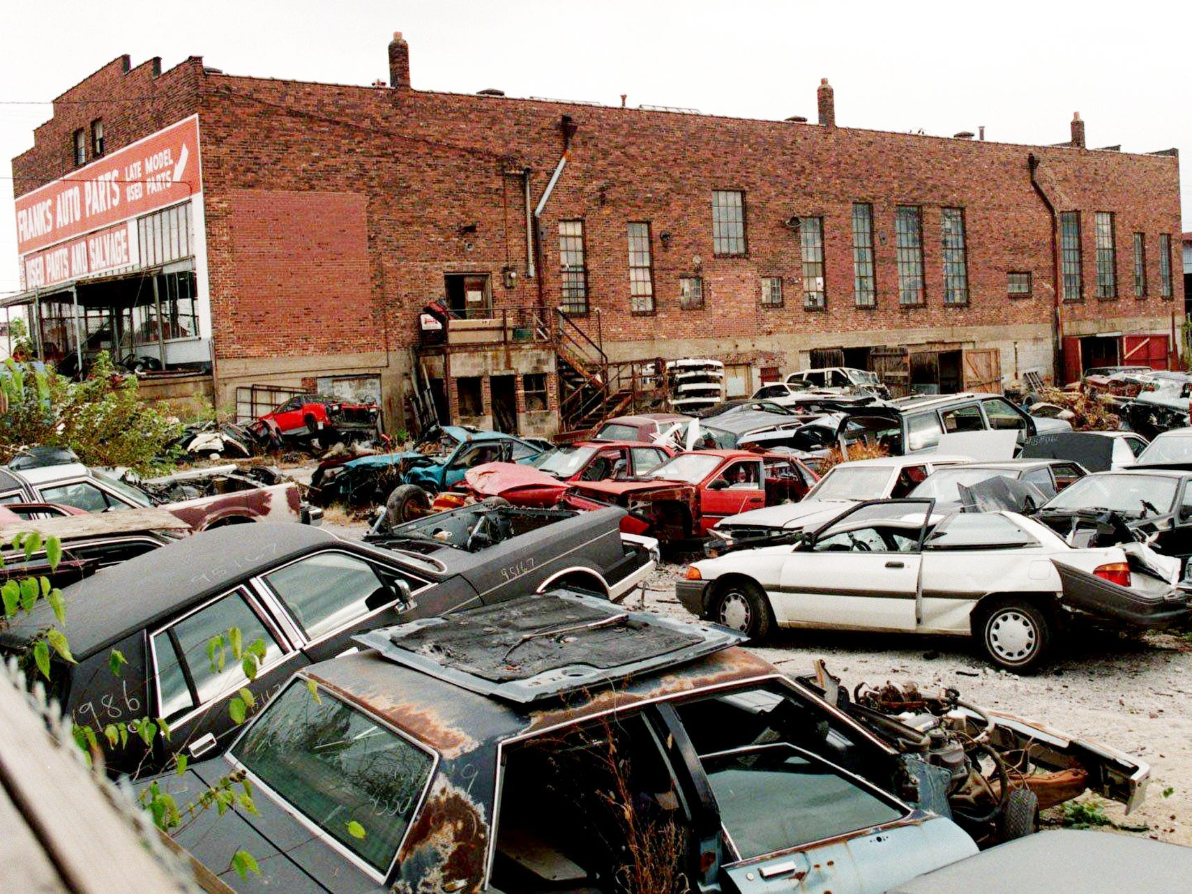 Franks Auto Parts, shown here Nov. 8, 1996 on the East bank near the Cumberland River, was bought by the city of Nashville to make way for the site of the new football stadium.