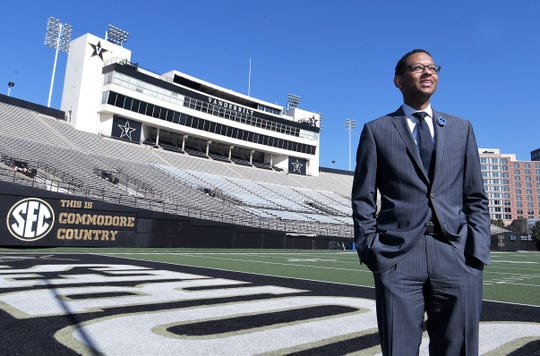 Nashville native, Vanderbilt graduate and NFL Senior Vice President Adolpho Birch  stands inside Vanderbilt football stadium on Tuesday, April 9, 2019.