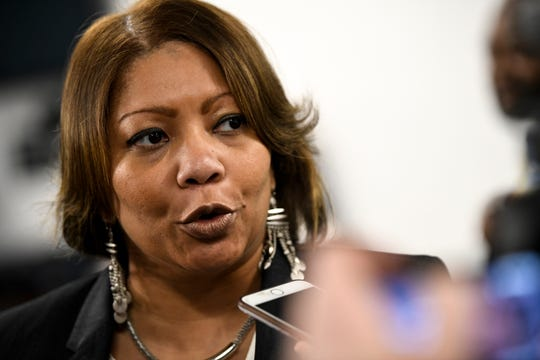 MNPS interim Director Dr. Adrienne Battle speaks to reporters after the April 9 school board meeting.