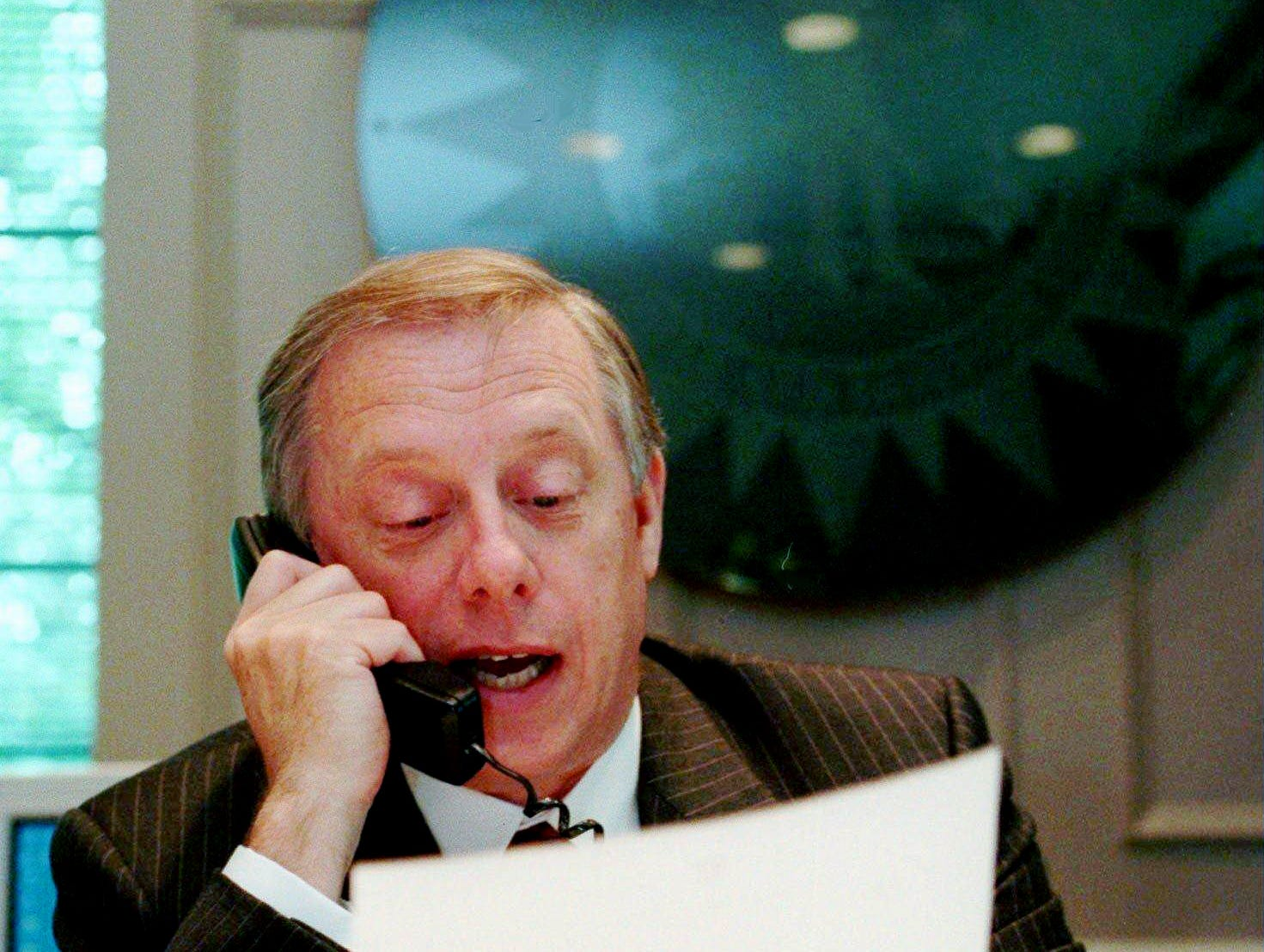 Metro Mayor Phil Bredesen looks over the letter he received Oct. 4, 1996 from NFL Commissioner Paul Tagliabue that approved the Houston Oilers' move from Texas to Tennessee. Receiving the letter means the city of Nashville can finally set the wheels in motion for the construction fo the team's new $292 million stadium. Work on the stadium has been stalled for several months because of a bill in the U.S. House of Representatives that would have regulated the movement of professional sports franchises.