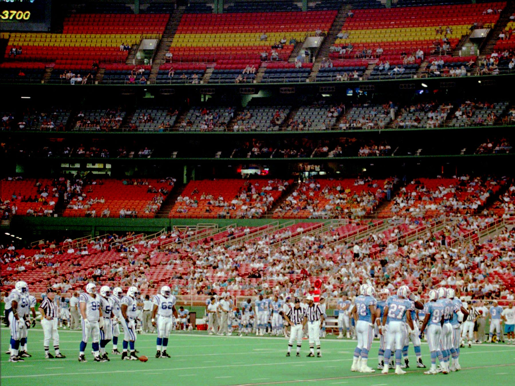 During a time out in the first quarter of the Houston Oilers exhibition game against the Indianapolis Colts Aug. 10, 1996, the Astrodome shows a lack of crowd, as the game brought out an estimated 15,000 fans. The lame-duck Oilers are scheduled to move to Nashville in 1997.