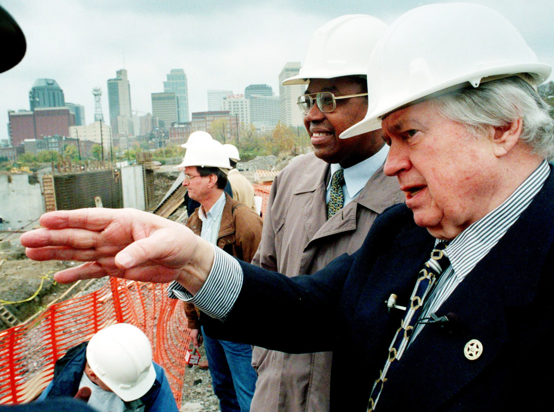 Oilers owner Bud Adams, right, shows TSU president Dr. James Hefner the progress of the new football stadium on the East Bank Nov. 10, 1997.