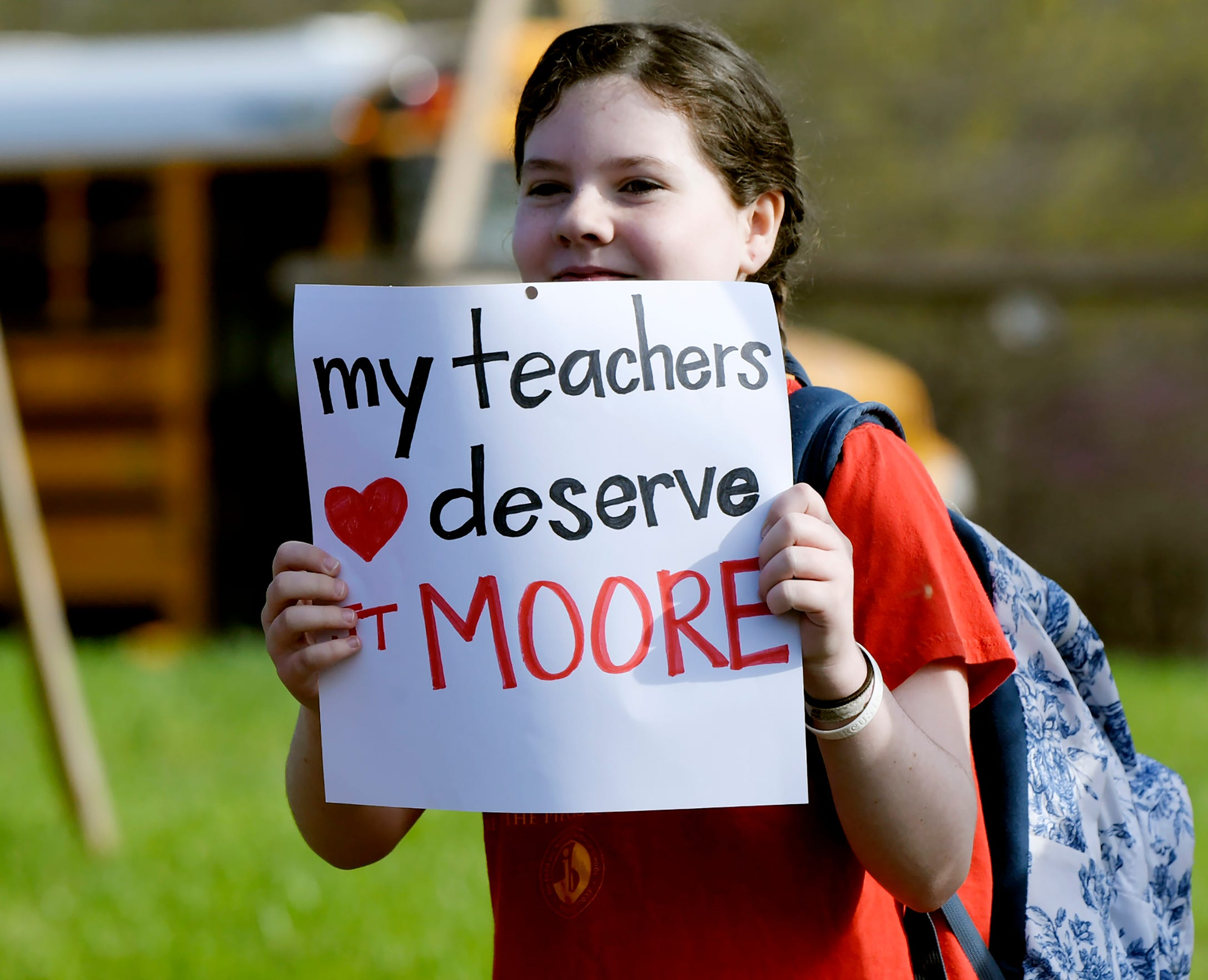 Supporters rally for teacher raises April 9, 2019, at JT Moore Middle School in Nashville.