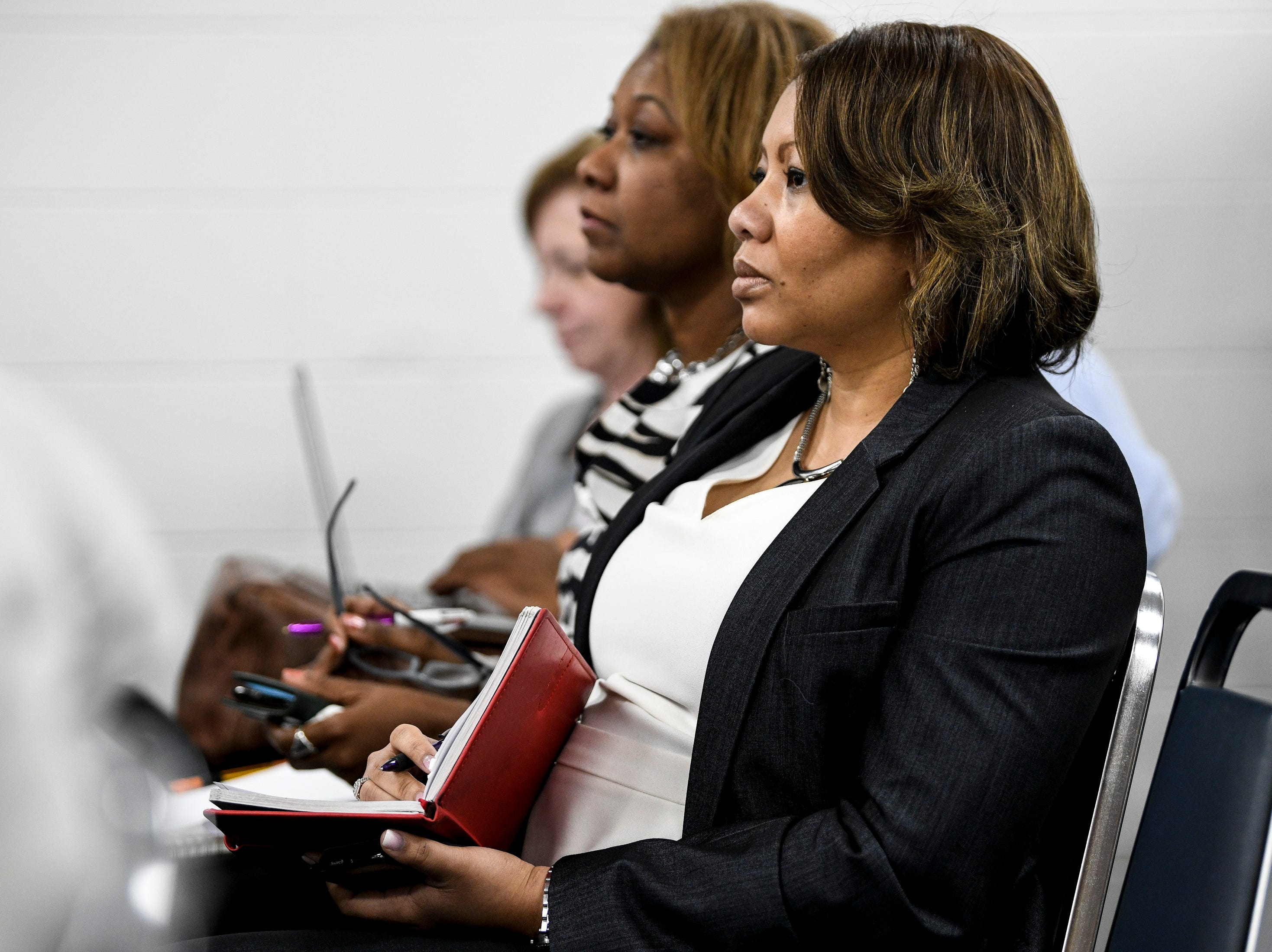 MNPS Community Superintendent Dr. Adrienne Battle listens as she is nominated to be interim director during the MNPS Board of Public Education meeting at the Administration Building of Metropolitan Public Schools in Nashville, Tenn., Tuesday, April 9, 2019.