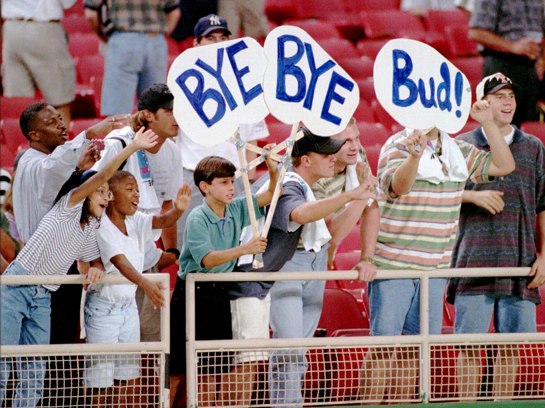 Houston Oilers fans hold up a sign expressing their view on Oilers owner Bud Adams after the game against San Diego Chargers was canceled when the Astrodome field was deemed unplayable Aug. 19, 1995 in Houston. Adams is involved in negotiations to move the team to Nashville, Tenn.