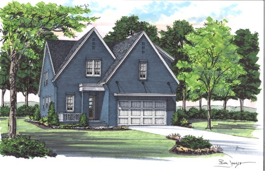 This rendering shows the Green Hills home being built by Carbine & Associates for Kristen Carbine and her fiancé, Beau Alford. Carbine reached out to her Instagram followers to help her choose the smoky blue exterior paint color and other finishes.