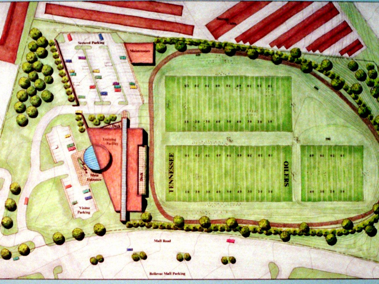 A copy of the rendering for the proposed Oiler's practice facilities at Baptist Hospital's Bellevue location on Highway 70-S in Bellevue during the press conference April 14, 1997.