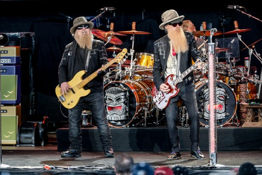 ZZ Top performs during a tour stop for the WJJK Summer Bash with John Fogerty-ZZ Top: Blues And Bayous Tour  at Ruoff Home Mortgage Music Center in Noblesville Ind. on Wednesday, June 13, 2018.