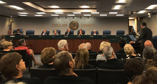 Residents opposed to a proposed connection between Whippoorwill Lane and Marbella Lakes Drive packed the Collier County commission chambers Tuesday, April 9, 2019.