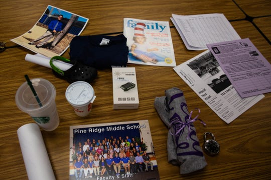 Contents of the time capsule at Pine Ridge Middle School on Tuesday, April 9, 2019.