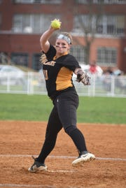 Starting pitcher Jess Perucki (no.10) of West Milford delivers the pitch against Passaic Valley in the second inning of their game at Passaic Valley HS in Little Falls on 04/08/19.