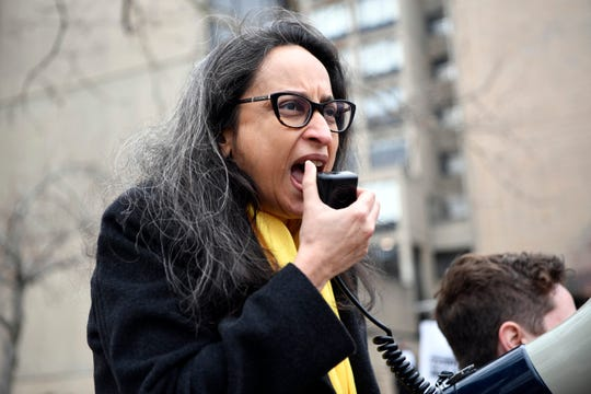Deepa Kumar, president of the Rutgers AAUP-AFT union, speaks during a rally at Rutgers-Newark on Tuesday, April 9, 2019, in Newark. Full-time faculty, grad students, and adjunct professors are rallying for the Rutgers Board of Governors to meet their contract demands, which include equal pay, higher salaries, and more full-time faculty hires.