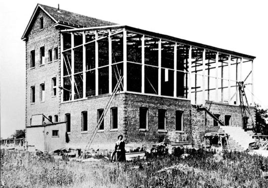 Alice Guy Blache' during construction of her Solax Studios on Lemoine Ave. in Fort Lee.