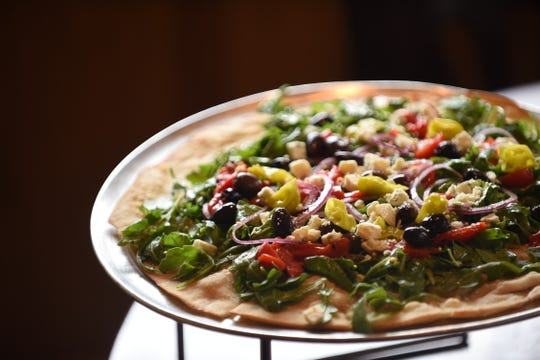 Photo of the Manhattan Salad Pizza at Grant Street Cafe in Dumont on April 9, 2019.