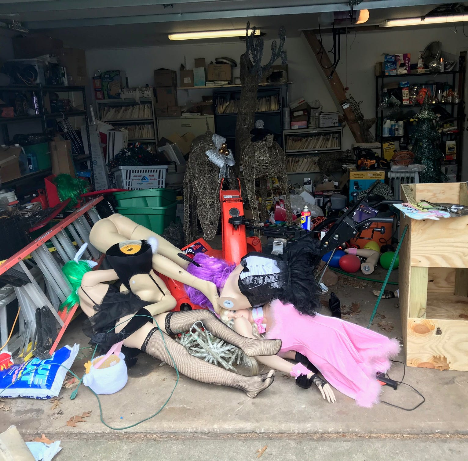 Woman, unhappy with sexy Easter mannequins, takes down display with garden shears