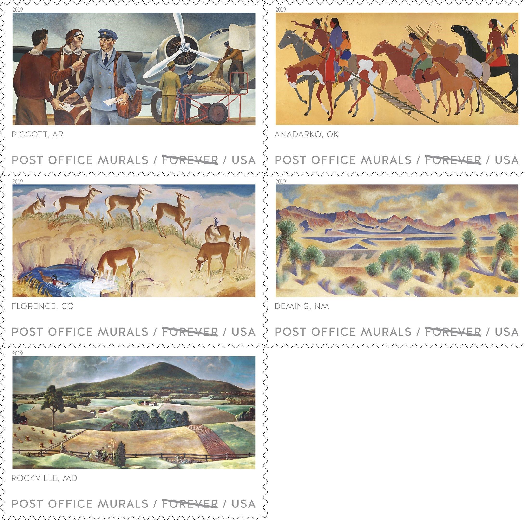 U.S. Post Office unveils Depression-era murals on commemorative stamps