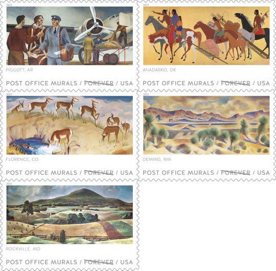 The full stamp sheet has five stamps honoring Post Office murals from around the country which also include murals from Florence, CO, Piggott, AR,Anadarko, Ok, and Rockville, MD.