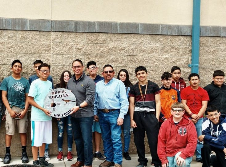 Morales was presented with a plaque handcrafted by Mr. Montes' welding class at Red Mountain Middle School.