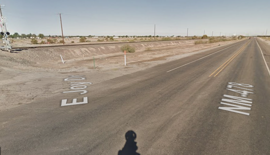The intersection of Joy Drive and N.M. Hwy. 478 north of Anthony, New Mexico is seen in this Google Street View image.