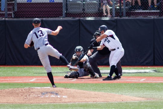New Mexico State's Tristan Peterson is tied with teammate Joey Ortiz for the lead in the NCAA in RBIs this season in his first year with the Aggies.