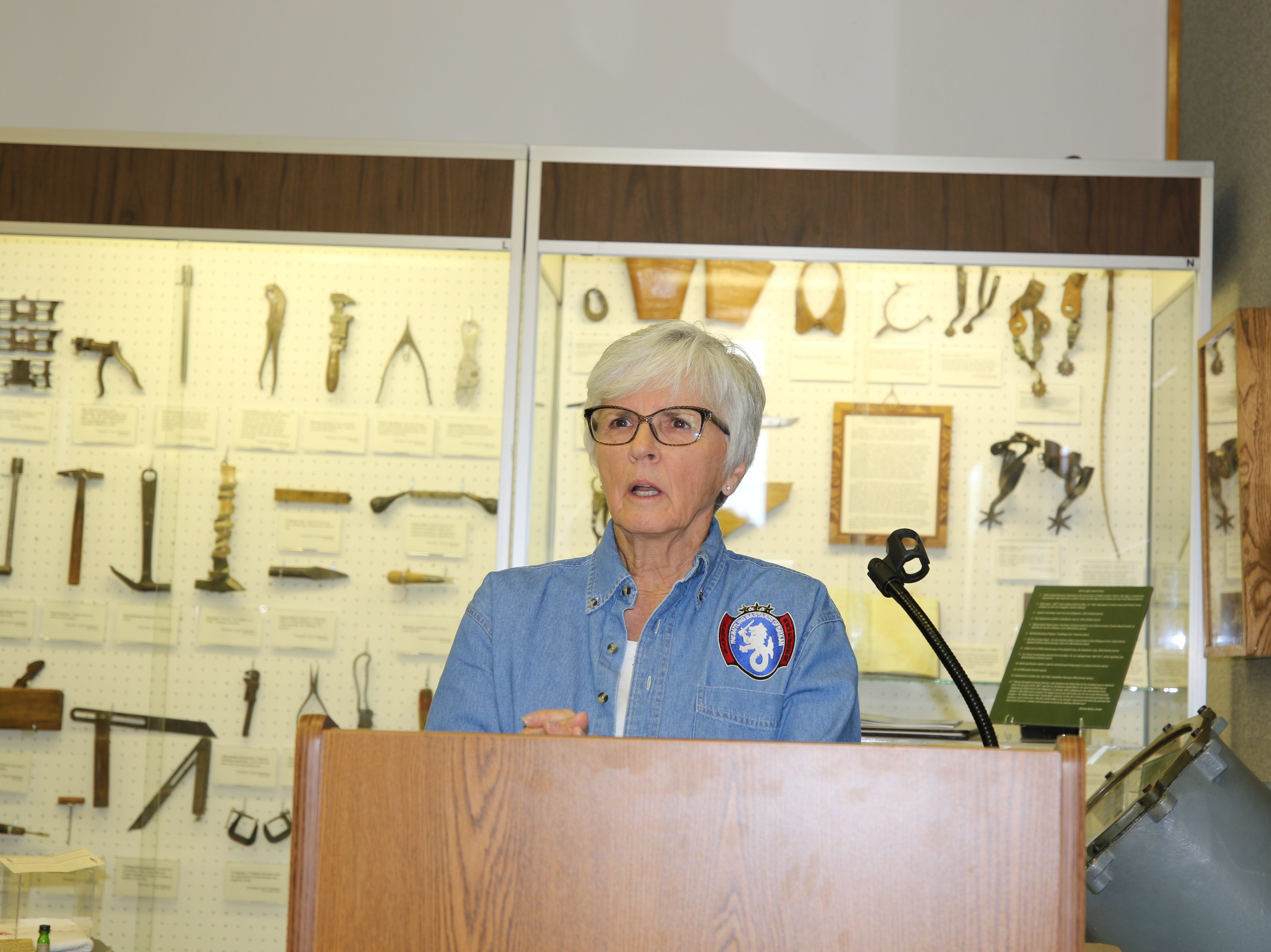 Joanna Sieberg speaks during a Congressional Gold Medal dedication ceremony April 9 at the Carlsbad Museum and Art Center.  Charlie James, Sieberg's late father, was a survivor of World War II's Bataan Death March.